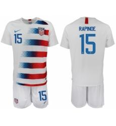 2018-19 USA 15 RAPINOE Home Soccer Jersey