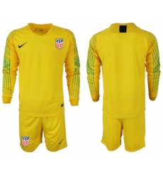 2018-19 USA Yellow Goalkeeper Long Sleeve Soccer Jersey