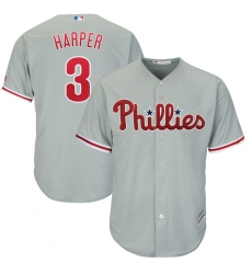 Men's Philadelphia Phillies #3 Bryce Harper Majestic Gray Official Cool Base Replica Player Jersey