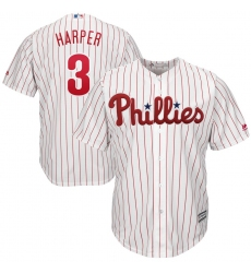 Youth Philadelphia Phillies #3 Bryce Harper Majestic WhiteRed Strip Home Official Cool Base Player Jersey
