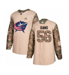 Men's Columbus Blue Jackets #56 Marko Dano Authentic Camo Veterans Day Practice Hockey Jersey