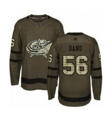Men's Columbus Blue Jackets #56 Marko Dano Authentic Green Salute to Service Hockey Jersey