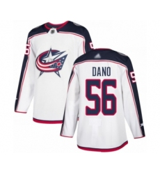 Men's Columbus Blue Jackets #56 Marko Dano Authentic White Away Hockey Jersey