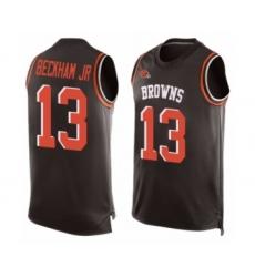 Men's Odell Beckham Jr. Limited Brown Nike Jersey NFL Cleveland Browns #13 Player Name & Number Tank Top