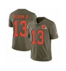 Men's Odell Beckham Jr. Limited Olive Nike Jersey NFL Cleveland Browns #13 2017 Salute to Service