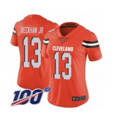Women's Cleveland Browns #13 Odell Beckham Jr. 100th Season Orange Alternate Vapor Untouchable Limited Player Football Jersey