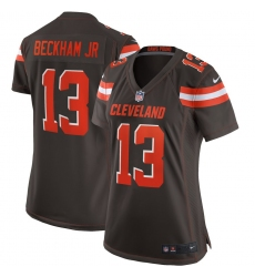 Women's Cleveland Browns #13 Odell Beckham Jr Nike Brown Game Jersey
