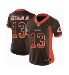 Women's Odell Beckham Jr. Limited Brown Nike Jersey NFL Cleveland Browns #13 Rush Drift Fashion