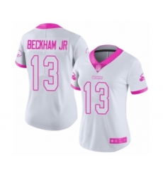 Women's Odell Beckham Jr. Limited White Pink Nike Jersey NFL Cleveland Browns #13 Rush Fashion