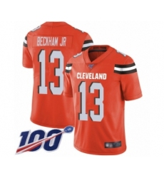 Youth Cleveland Browns #13 Odell Beckham Jr. 100th Season Orange Alternate Vapor Untouchable Limited Player Football Jersey