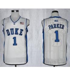 Blue Devils #1 Jabari Parker White Basketball Stitched NCAA Jersey