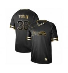 Men's Atlanta Braves #38 Josh Tomlin Authentic Black Gold Fashion Baseball Jersey
