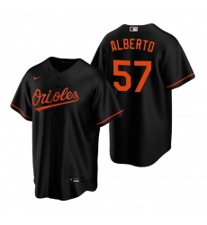 Men's Nike Baltimore Orioles #57 Hanser Alberto Black Alternate Stitched Baseball Jersey