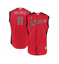Youth Minnesota Twins #11 Jorge Polanco Authentic Red American League 2019 Baseball All-Star Jersey