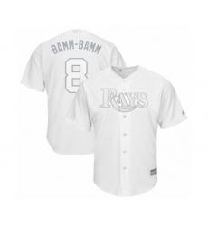 Men's Tampa Bay Rays #8 Brandon Lowe  Bamm-Bamm Authentic White 2019 Players Weekend Baseball Jersey