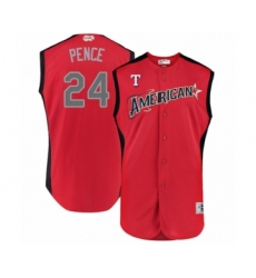 Men's Texas Rangers #24 Hunter Pence Authentic Red American League 2019 Baseball All-Star Jersey