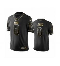 Men's New York Giants #8 Daniel Jones Limited Black Golden Edition Football Jersey