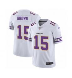 Men's Baltimore Ravens #15 Marquise Brown White Team Logo Fashion Limited Player Football Jersey