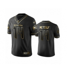 Men's Seattle Seahawks #14 D.K. Metcalf Limited Black Golden Edition Football Jersey