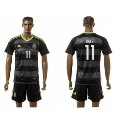 Wales #11 Bale Black Away Soccer Country Jersey