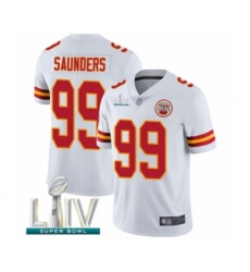 Men's Kansas City Chiefs #99 Khalen Saunders White Vapor Untouchable Limited Player Super Bowl LIV Bound Football Jersey