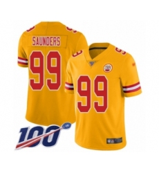 Youth Kansas City Chiefs #99 Khalen Saunders Limited Gold Inverted Legend 100th Season Football Jersey