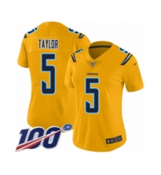 Women's Los Angeles Chargers #5 Tyrod Taylor Limited Gold Inverted Legend 100th Season Football Jersey