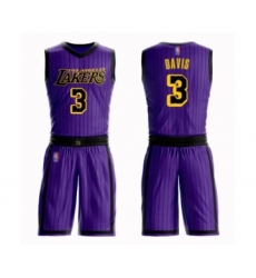 Women's Los Angeles Lakers #3 Anthony Davis Swingman Purple Basketball Suit Jersey - City Edition