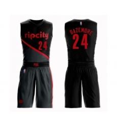 Men's Portland Trail Blazers #24 Kent Bazemore Swingman Black Basketball Suit Jersey - City Edition