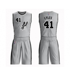 Men's San Antonio Spurs #41 Trey Lyles Authentic Silver Basketball Suit Jersey Statement Edition