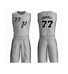Men's San Antonio Spurs #77 DeMarre Carroll Swingman Silver Basketball Suit Jersey Statement Edition