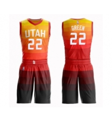 Men's Utah Jazz #22 Jeff Green Authentic Orange Basketball Suit Jersey - City Edition