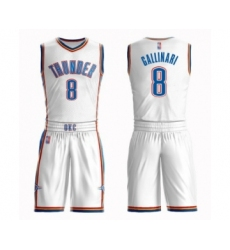 Men's Oklahoma City Thunder #8 Danilo Gallinari Swingman White Basketball Suit Jersey - Association Edition