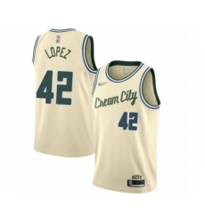 Men's Milwaukee Bucks #42 Robin Lopez Swingman Cream Basketball Jersey - 2019 20 City Edition