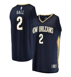 Men's New Orleans Pelicans #2 Lonzo Ball Fanatics Branded Navy 2020-21 Fast Break Player Jersey