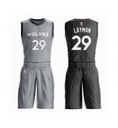 Men's Minnesota Timberwolves #29 Jake Layman Swingman Gray Basketball Suit Jersey - City Edition