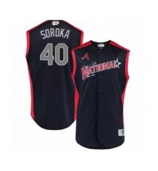 Men's Atlanta Braves #40 Mike Soroka Authentic Navy Blue National League 2019 Baseball All-Star Jersey