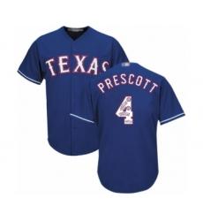 Men's Texas Rangers #4 Dak Prescott Authentic Royal Blue Team Logo Fashion Cool Base Baseball Jersey