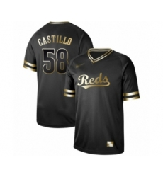 Men's Cincinnati Reds #58 Luis Castillo Authentic Black Gold Fashion Baseball Jersey