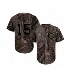 Youth Cincinnati Reds #15 Nick Senzel Authentic Camo Realtree Collection Flex Base Baseball Jersey