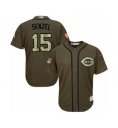 Youth Cincinnati Reds #15 Nick Senzel Authentic Green Salute to Service Baseball Jersey