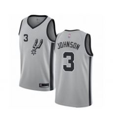 Men's San Antonio Spurs #3 Keldon Johnson Authentic Silver Basketball Jersey Statement Edition