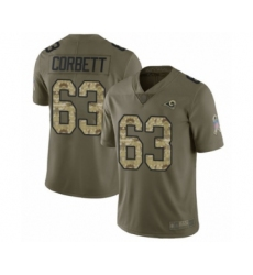 Men's Los Angeles Rams #63 Austin Corbett Limited Olive Camo 2017 Salute to Service Football Jersey