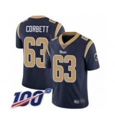 Men's Los Angeles Rams #63 Austin Corbett Navy Blue Team Color Vapor Untouchable Limited Player 100th Season Football Jersey