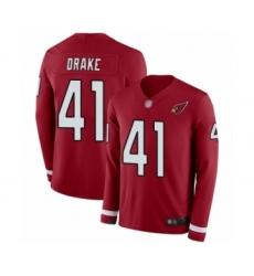 Men's Arizona Cardinals #41 Kenyan Drake Limited Red Therma Long Sleeve Football Jersey