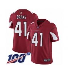 Men's Arizona Cardinals #41 Kenyan Drake Red Team Color Vapor Untouchable Limited Player 100th Season Football Jersey