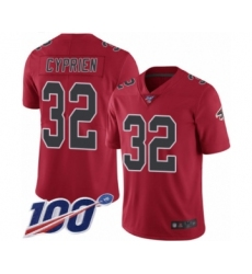 Men's Atlanta Falcons #32 Johnathan Cyprien Limited Red Rush Vapor Untouchable 100th Season Football Jersey