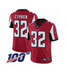 Men's Atlanta Falcons #32 Johnathan Cyprien Red Team Color Vapor Untouchable Limited Player 100th Season Football Jersey