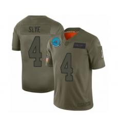 Men's Carolina Panthers #4 Joey Slye Limited Olive 2019 Salute to Service Football Jersey