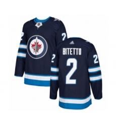 Men's Winnipeg Jets #2 Anthony Bitetto Premier Navy Blue Home Hockey Jersey